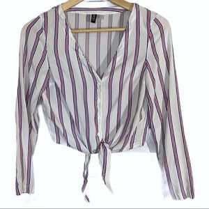 H&M striped button up front tie v-neck blouse